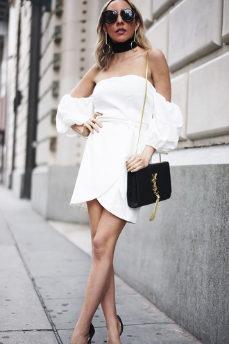 dress tumblr white dress mini dress wrap dress asymmetrical asymmetrical dress bag black bag ysl ysl bag chain bag tassel off the shoulder off the shoulder dress sunglasses earrings gold earrings jewels jewelry gold jewelry choker necklace black choker