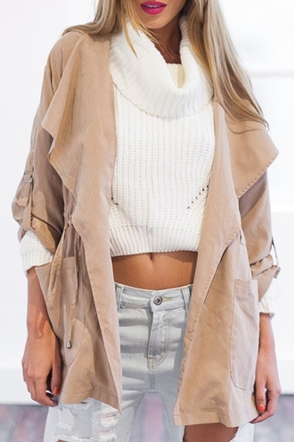 cardigan cream white coat girl girly girly wishlist fall outfits nude trench coat jacket fashion beige fashionista cool trendy long sleeves beautifulhalo