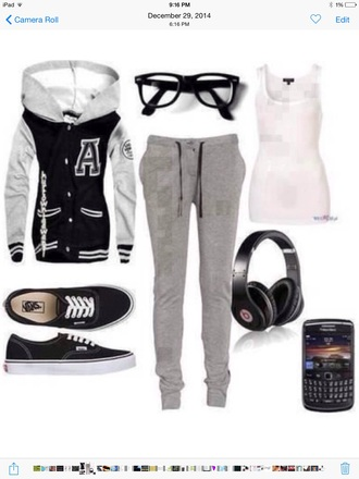jacket swag style sweater pants glasses tank top beautiful vans shoes