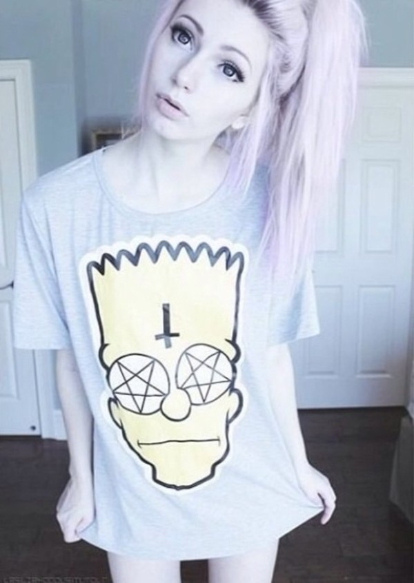 shirt bart simpson oversized devil bart simpson t-shirt inverted cross satan pastel goth soft grunge indie pink hair the simpsons cross tumblr grunge