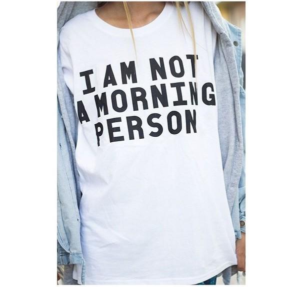 t-shirt i am not a morning person tumblr graphic tee top batoko www.batoko.com
