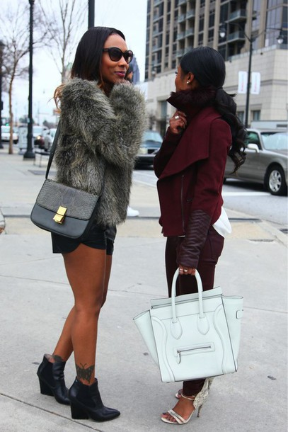 coat wedges fur coat leather jacket burgundy shoes