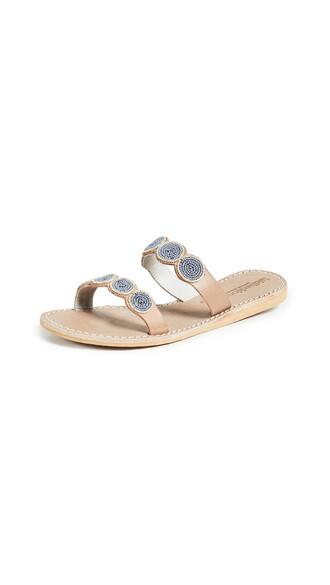 sandals tan silver shoes