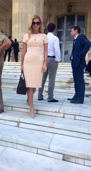 peach dress office dress classic