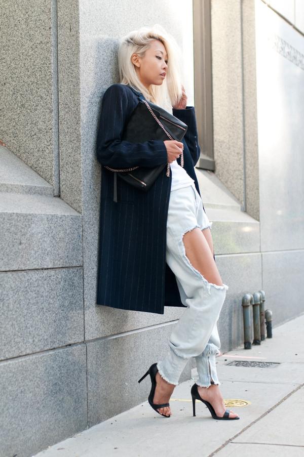 the haute pursuit coat t-shirt jeans shoes bag jewels