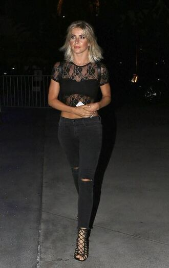 jeans sandals all black everything julianne hough blouse top lace crop top lace top