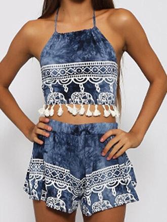 jumpsuit romper blue elephant print