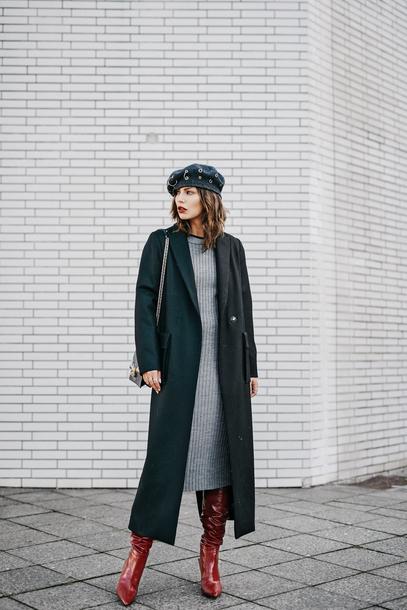 shoes tumblr boots red boots dress knit knitwear knitted dress midi knit dress midi dress grey dress coat long coat beret
