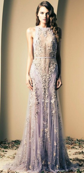prom dress long dress beaded dress lavender dress evening gown