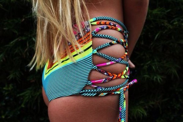 swimwear hipster bikini wrap bikini multicolored swimsuit high waisted bikini aztec swimwear bikini bikini bottoms multicolor