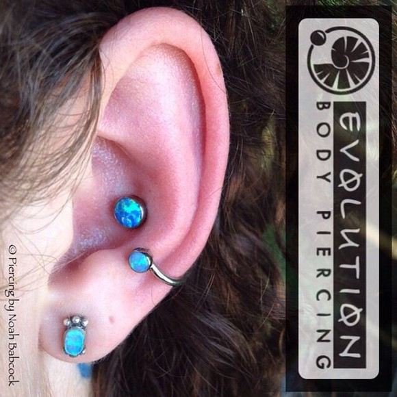 jewels piercing silver earrings ear cuff teal body jewelry ear piercings stainless steel