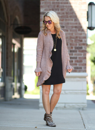 twopeasinablog blogger cardigan dress shoes jewels sunglasses ankle boots animal print animal print ankle boots fall outfits black dress