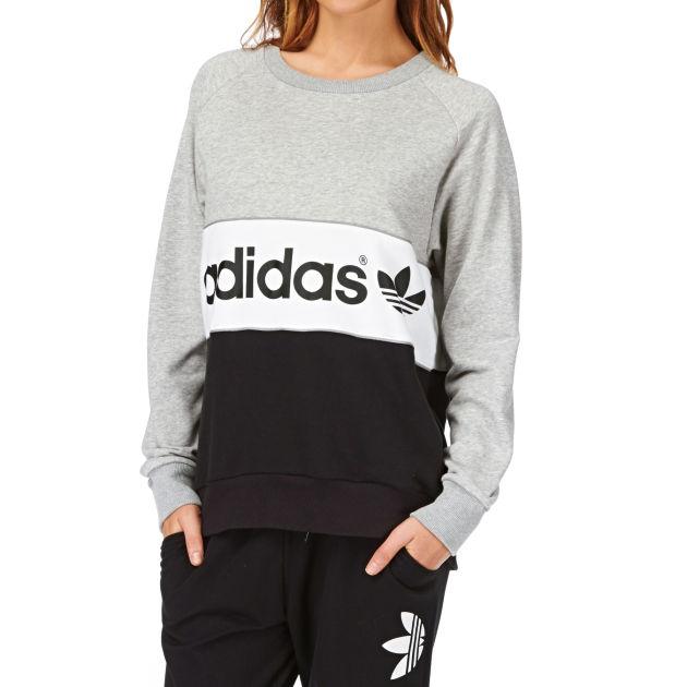 Women s Adidas Originals City Sweatshirt - Medium Grey Heather ... 8aebf5ac3e
