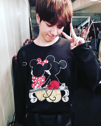 sweater clothes got7 mickey mouse minnie mouse kpop idols korean fashion yugyeom cute long sleeves black kim yugyeom