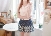 blouse,cute,ulzzang,korean fashion,pink,pastel,lace,korean style,skirt,colorful,peterpan collar blouse,peter pan collar,pastel pink blouse,pastel pink,kawaii,cute outfits,cute skirt,lace blouse,polka dot peter pan collar,pink blouse,cute blouse,kawaii outfit,cute skater skirt,cute shirt,cute bottom,cute top