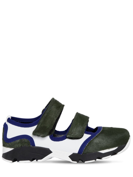MARNI 20mm Ponyskin & Leather Sneakers in green / white