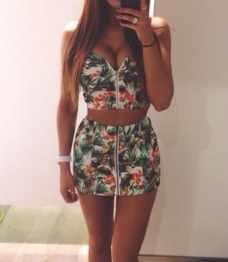 crop tops zip bustier floral top floral dress mini dress summer outfits jumpsuit top tropical gorgeous cute summer beautilful skirt flower shirt fashion flowered style shorts dress two-piece romper sexy tumblr green 2 piece skirt set two piece dress set palm tree print