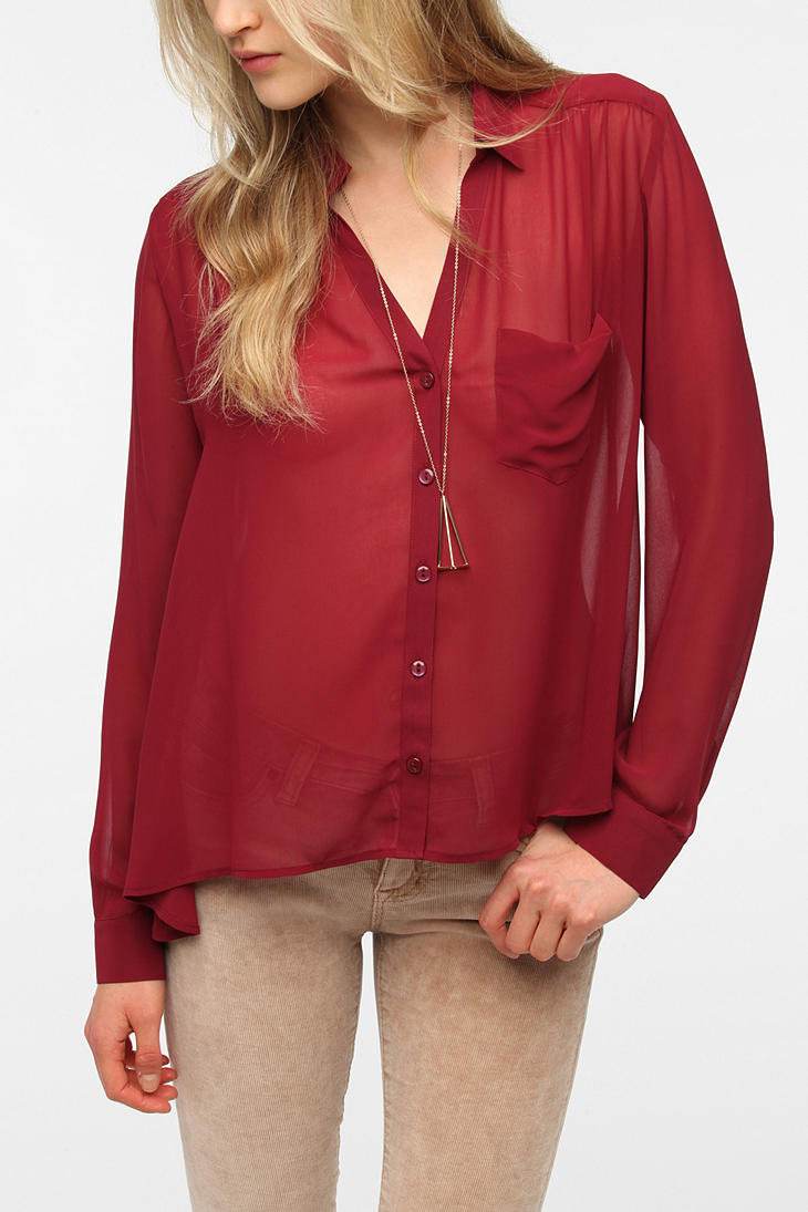 c6ba7064e Silence & Noise Sheer Chiffon Button-Down Blouse - Urban Outfitters
