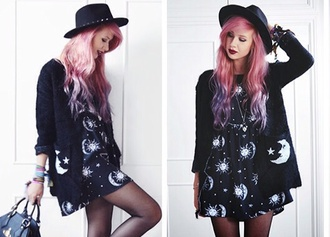 dress black little black dress casual dress space outer space moon and sun amy valentine hat stars cardigan black cardigan black sweater sweater