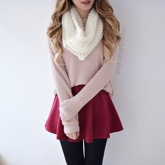sweater pink white scarf red skirt