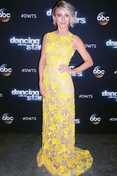 dress,yellow,yellow dress,lace dress,julianne hough,gown,prom dress