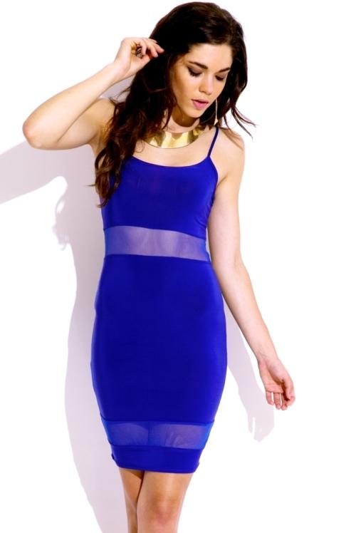 Lethalbeauty ? royal blue mesh inset mini bodycon dress