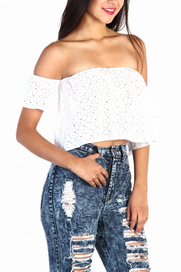 LoveMelrose.com From Harry & Molly | Off The Shoulder Eyelet Top in White