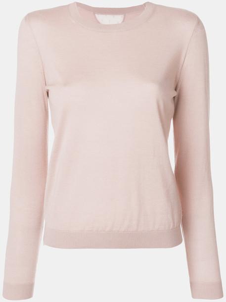 Red Valentino - crew neck jumper - women - Silk/Polyamide/Cashmere - M, Nude/Neutrals, Silk/Polyamide/Cashmere