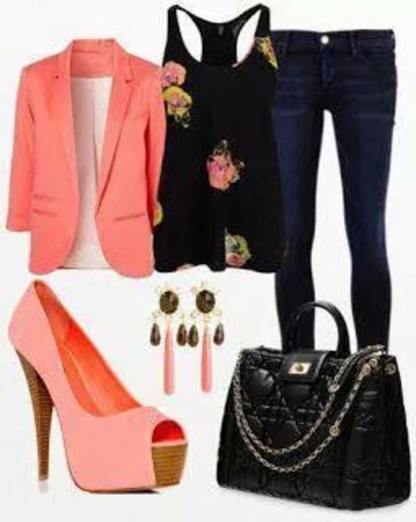 jacket orange peach shoes