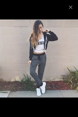 pants highwaisted highwaisted sweatpants air jordan sweatpants highwaisted pants ombre hair zip up jacket zip up hoodie aint no wifey\ t-shirt white shirt red lime sunday shoes hair accessory shorts shirt