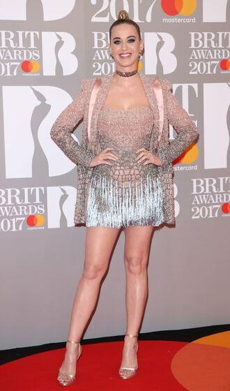 dress katy perry brit awards sandals mini dress choker necklace blazer glitter glitter dress