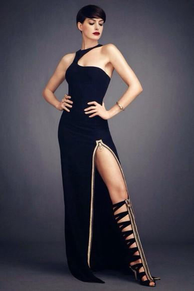 long dress prom dress little black dress gold trim zip gold zip anne hathaway