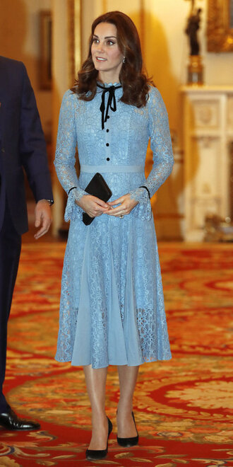 dress lace dress lace midi dress pumps kate middleton blue dress