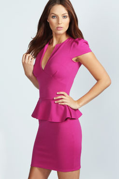 Lorna Slit Front Peplum Dress at boohoo.com