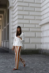 pants,wide-leg pants,stripes,striped pants,sandals,shoes,sunglasses,top,white top,button up