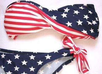 swimwear american flag bikini bandeau swimsuit