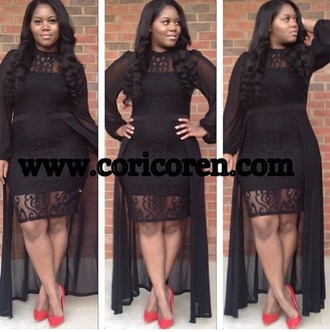 dress cury fashion plus size dress black dress black sheer dress boutique