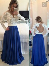 dress,white,lace,blue,maxi dress,girly,feminine,trendy,cute,formal,prom,open back,dressofgirl,girl,girly wishlist,long prom dress,blue prom dress,chiffon prom dress,long evening dress,lace dress,party dress,a line prom gowns,sexy prom dress,elegant prom gowns