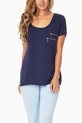 shirt navy zipper jeans gold scoopneck shortsleeve
