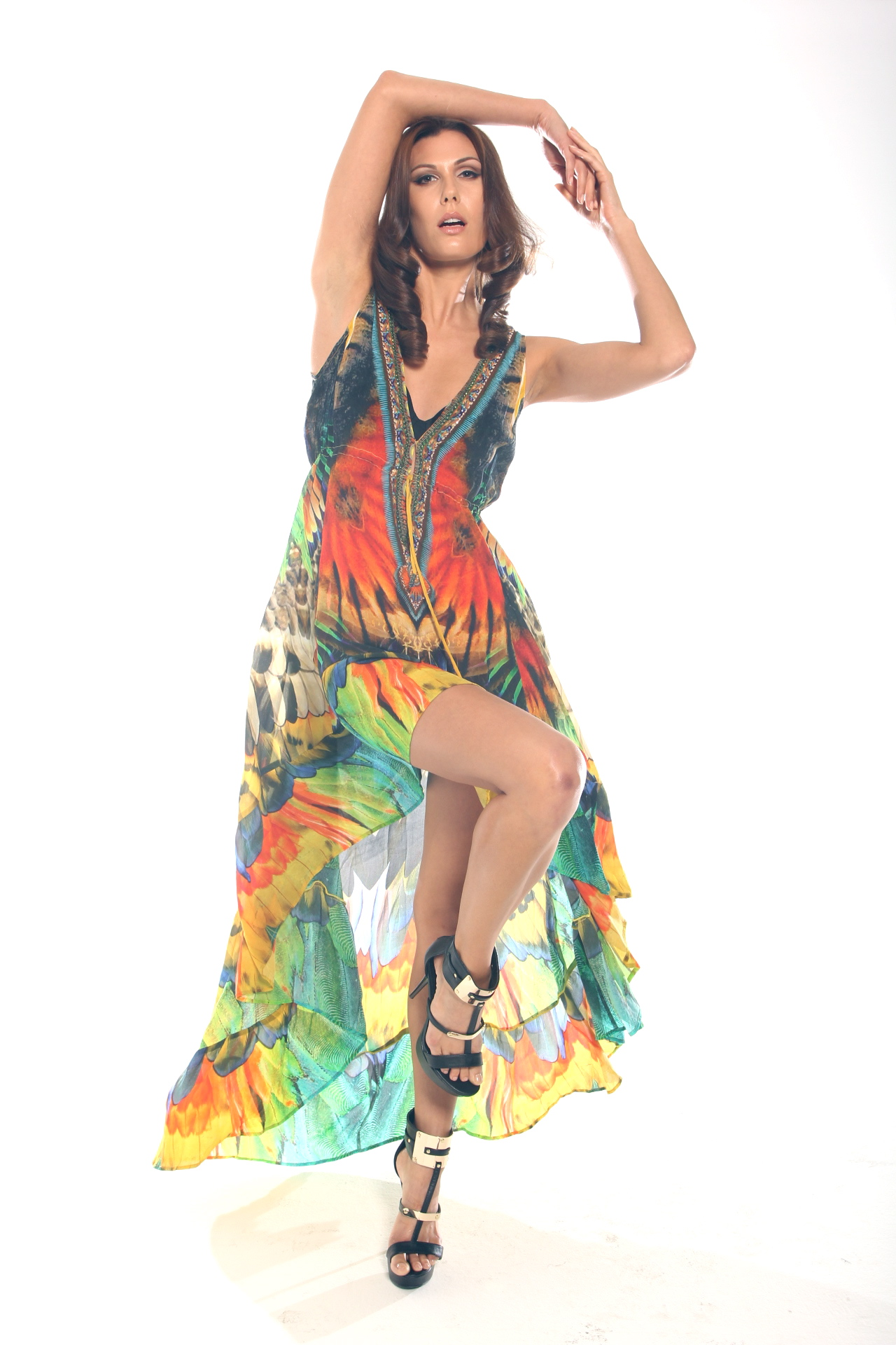 Parides official website, shahida parides hi low amazonia feather print fit and flare dress