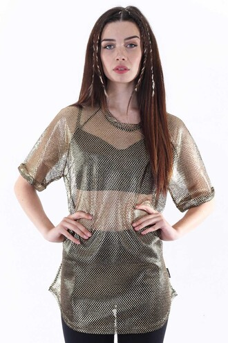 t-shirt mesh top gold mesh oversized t-shirt see through