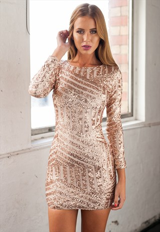 e1d7f9d6d98c Long Sleeve Rose Gold Mini Dress - Everlasting Nights Dress