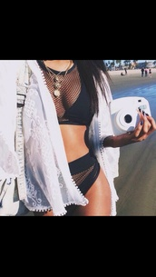 swimwear,cardigan,dope swimwear,white jacket,black bikini,camera,beach,kimono,white,high waisted bikini,net,bikini black net kim kardashian
