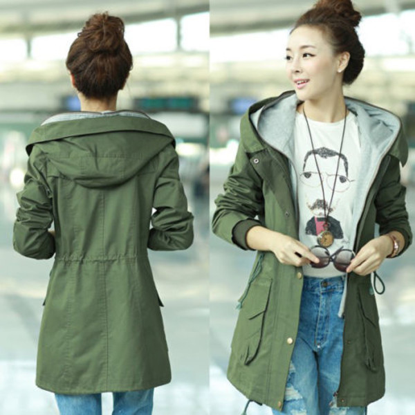 jacket parka hooded coat army green jacket