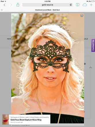 hair accessory laced mask mask anastacia