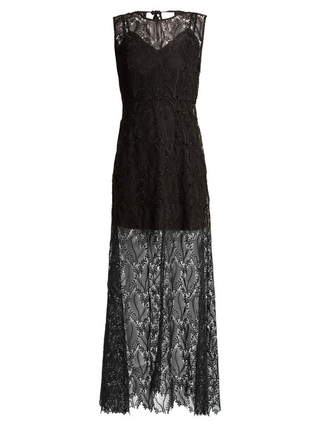 Diane Von Furstenberg gown sleeveless lace floral black dress
