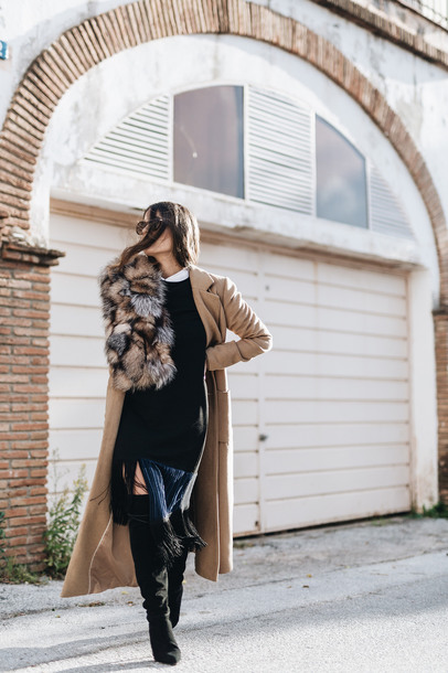 dress tumblr midi dress black midi dress fringes fringed dress coat camel camel coat camel long coat scarf fur scarf boots black boots