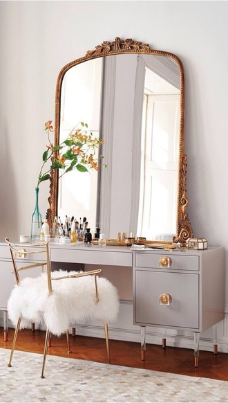 home accessory makeup table mirror grey home decor gold make-up
