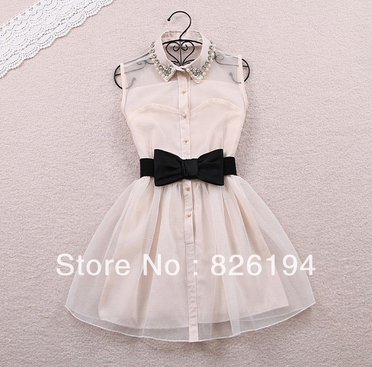 Bow With Belt Spring Summer 2014 New Fashion Sweet Pearl Diamond Lapel Waist Sleeveless Tank Vest Dress Gauze Tutu ,Black,Beige-in Dresses from Apparel & Accessories on Aliexpress.com
