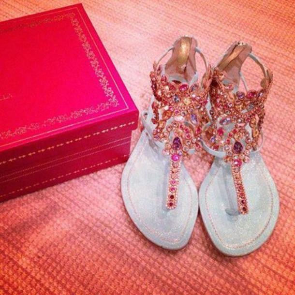 12f350e95b8bfa shoes pink sandals sparkels crystal cute perfection flat sandals blue  sandals cute sandals glitter glitter shoes
